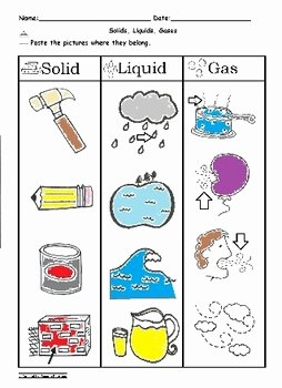 Solid Liquid Gas Worksheet Beautiful solid Liquid and Gas sorting Worksheet Science C Scope