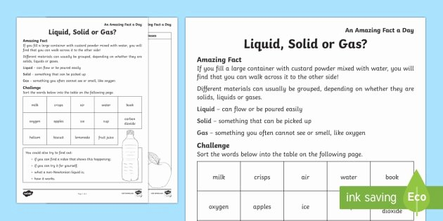 Solid Liquid Gas Worksheet Beautiful solid Liquid or Gas Worksheet Worksheet Amazing Fact