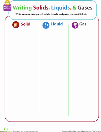 Solid Liquid Gas Worksheet Fresh Matter Mixup Writing solids Liquids and Gases