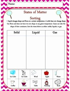Solid Liquid Gas Worksheet Luxury 1000 Images About Science solid Liquid Gas On