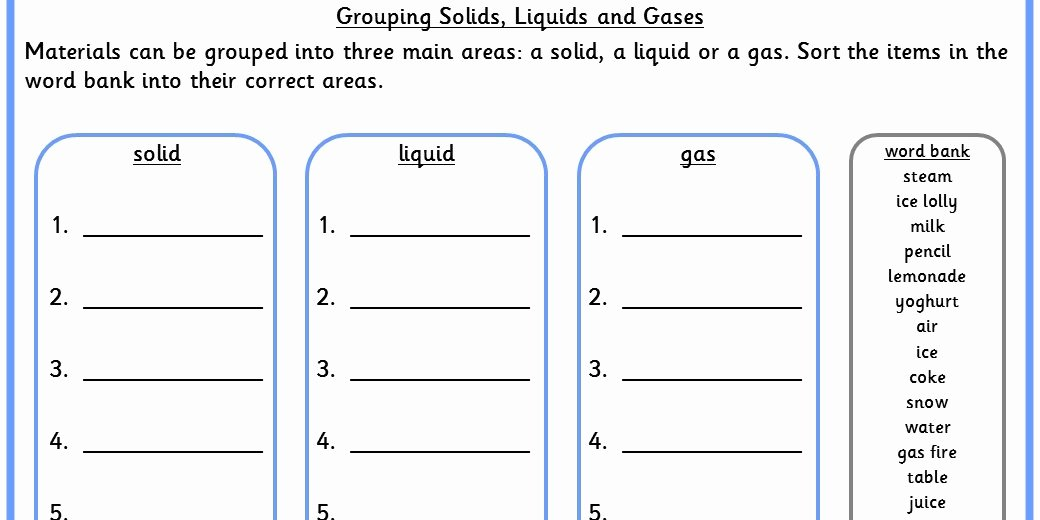 Solid Liquid Gas Worksheet New Grouping solids Liquids and Gases