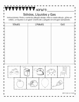 Solid Liquid Gas Worksheet New solids Liquids and Gases sort Spanish Freebie by Mi