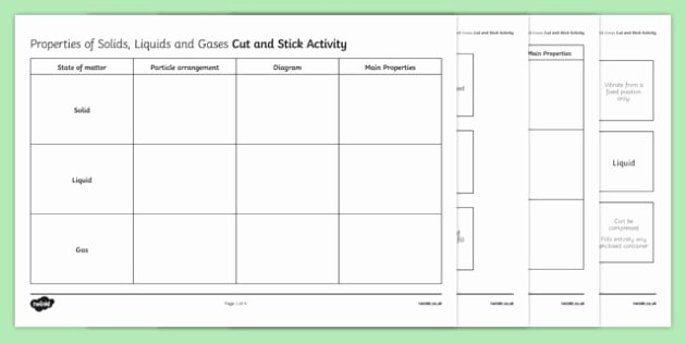 Solid Liquid Gas Worksheet Unique Properties Of solids Liquids and Gases Cut and Stick