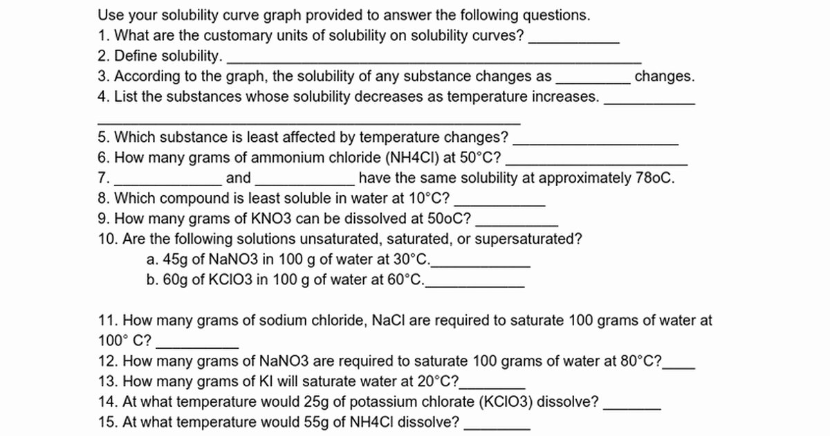 Solubility Graph Worksheet Answers Awesome solubility Worksheet