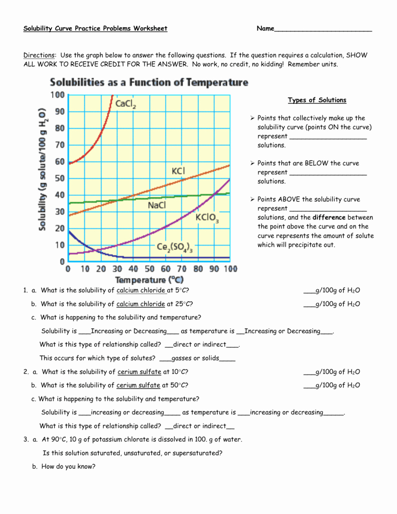 Solubility Graph Worksheet Answers Fresh solubility Curve Practice Problems Worksheet 1