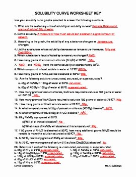 Solubility Graph Worksheet Answers Fresh solubility Curve Worksheet by Gary Edelman