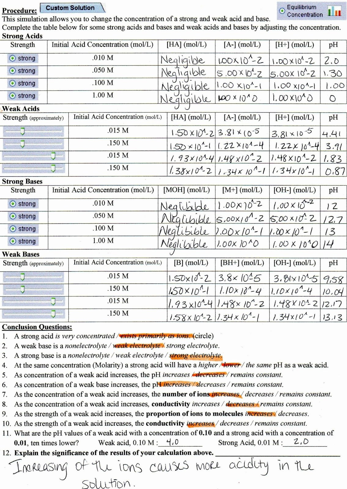 Solutions Acids and Bases Worksheet Best Of Tester for Chem 105 January 2014