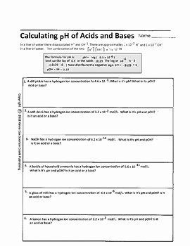 Solutions Acids and Bases Worksheet Fresh Ph Of Acids and Bases Worksheet by Scorton Creek