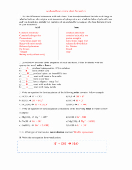 Solutions Acids and Bases Worksheet Fresh Unit 5 Acids & Bases Answers