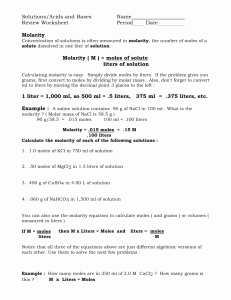 Solutions Acids and Bases Worksheet Inspirational Molarity Problems Worksheet