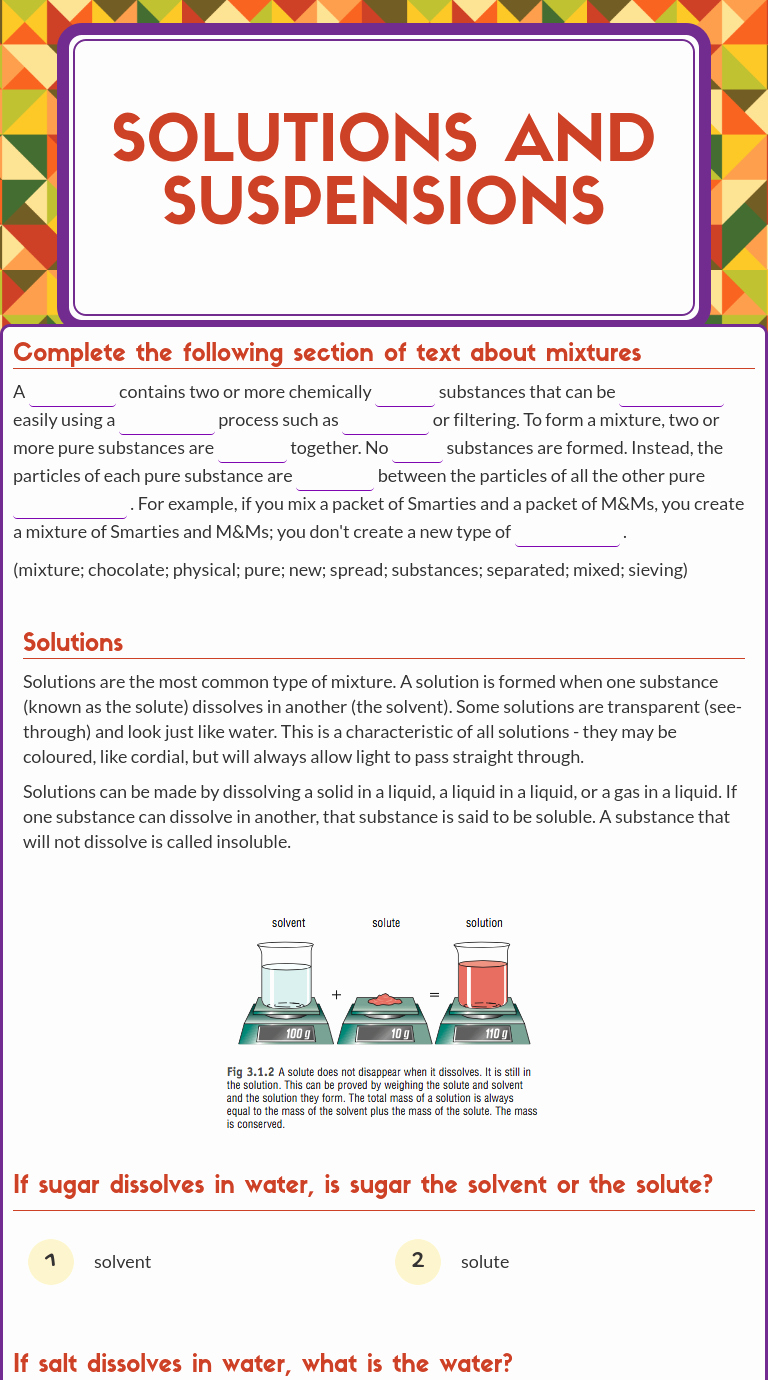 Solutions Colloids and Suspensions Worksheet Fresh solutions Colloids and Suspensions Worksheet