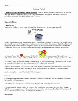 Solutions Colloids and Suspensions Worksheet Inspirational solutions Suspension and Colloids Notes
