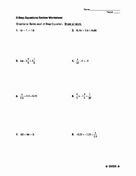 Solve 2 Step Equations Worksheet Fresh solving Two Step Equations Worksheet by Mrs J S Math