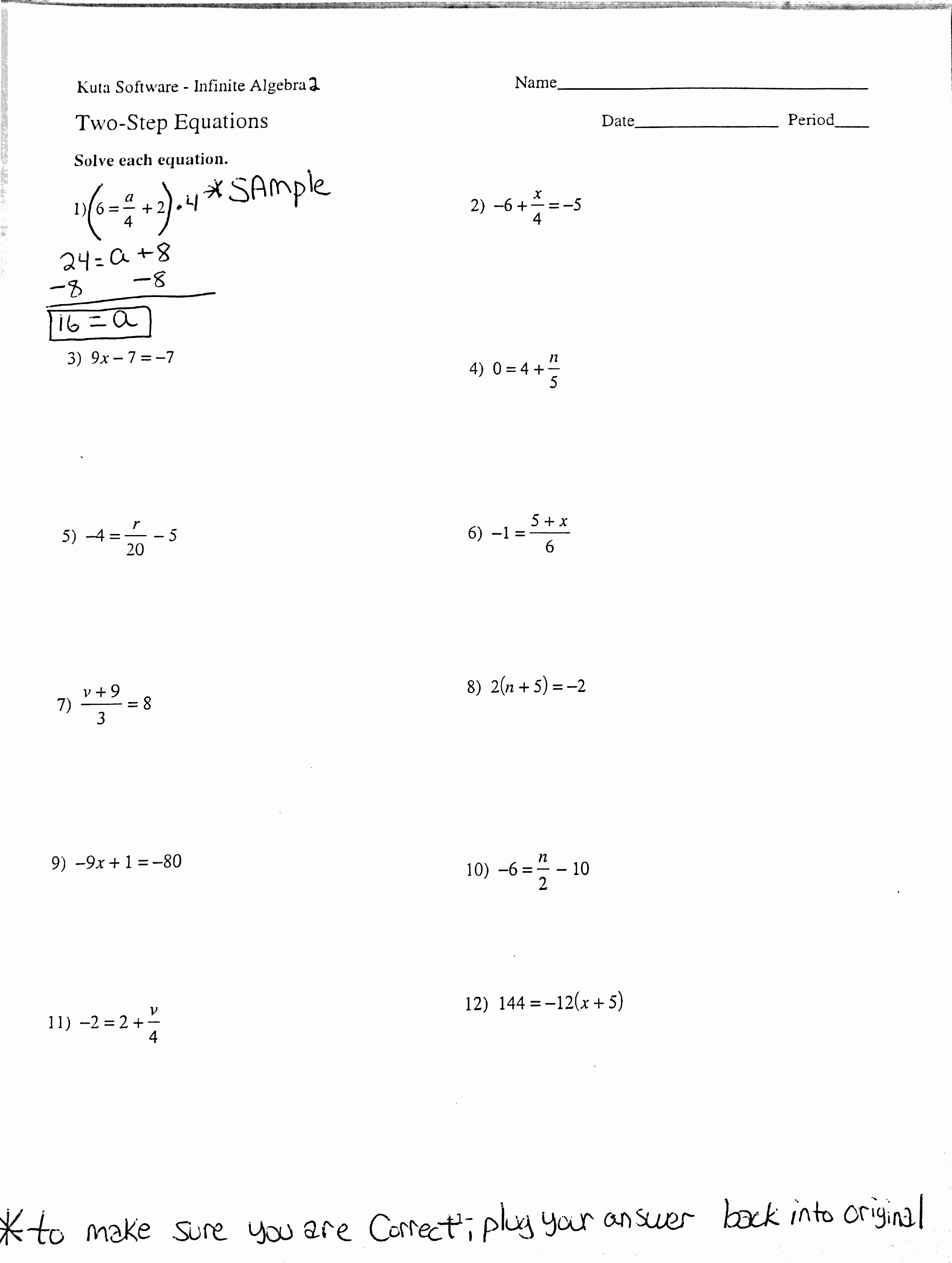 Solve 2 Step Equations Worksheet New Algebra 2a Mr Vanalstine S Class