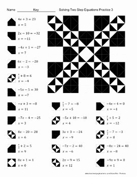 Solve 2 Step Equations Worksheet New solving Two Step Equations Color Worksheet Practice 3 by