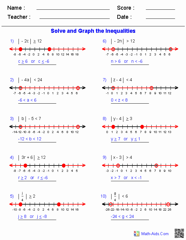 Solve and Graph Inequalities Worksheet Elegant Algebra 1 Worksheets