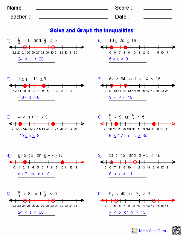 Solve and Graph Inequalities Worksheet Luxury Algebra 1 Worksheets