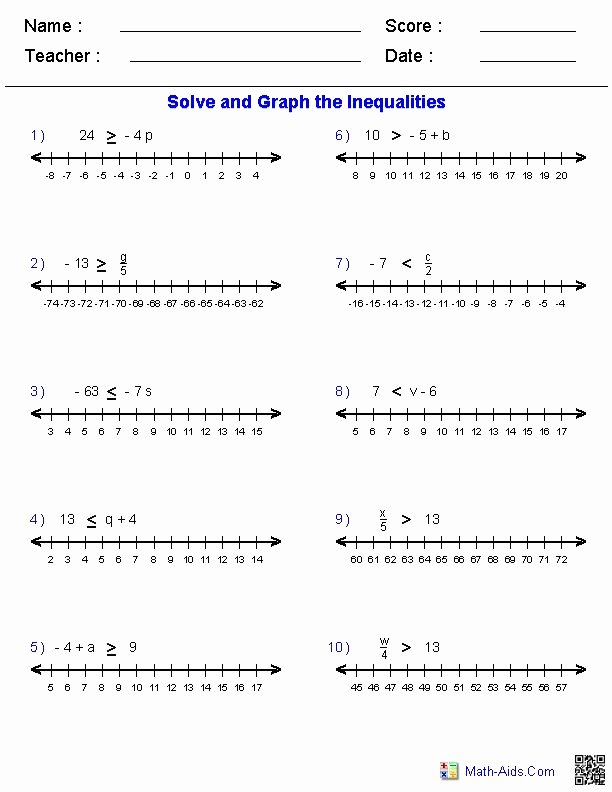 Solve and Graph Inequalities Worksheet Luxury E Step Inequalities Worksheets by Adding Subtracting