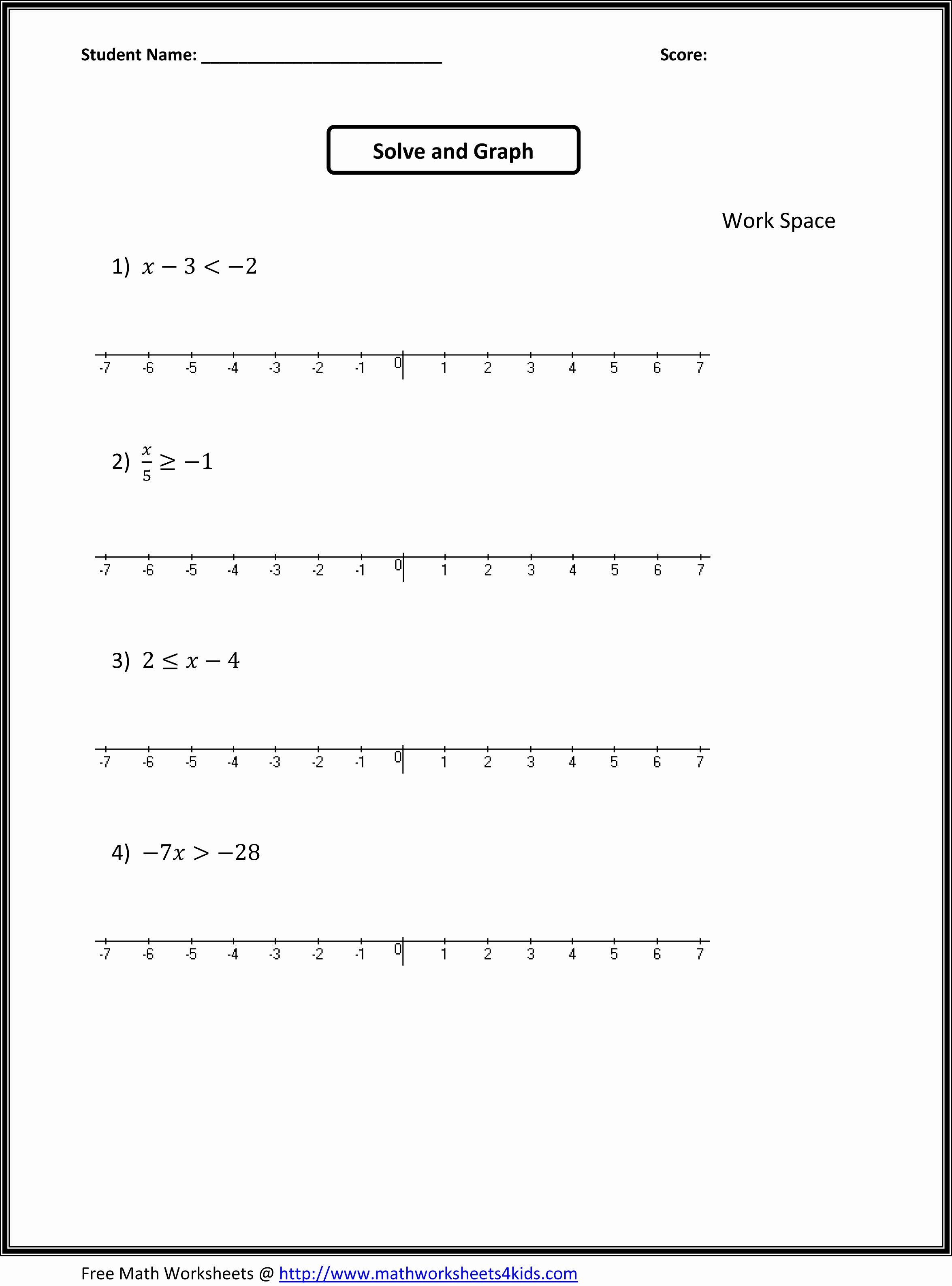 Solve and Graph Inequalities Worksheet New 7th Grade Math Worksheets