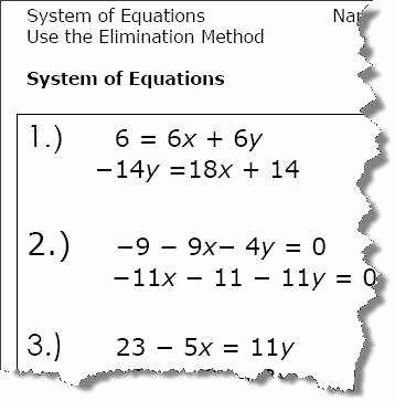 Solve by Elimination Worksheet Beautiful solving Systems by Elimination Worksheet