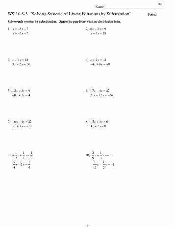 Solve by Elimination Worksheet Fresh solving Systems by Elimination Worksheet