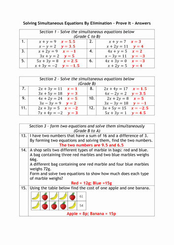Solve by Elimination Worksheet Luxury Simultaneous Equations Graded Worksheet by Alutwyche
