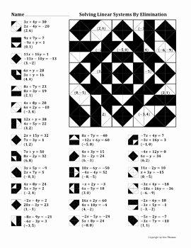 Solve by Elimination Worksheet Unique solving Linear Systems by Elimination Color Worksheet by
