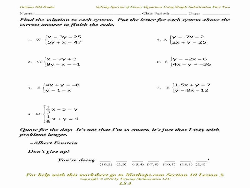 Solve by Elimination Worksheet Unique solving Systems Equations by Substitution Answers Math