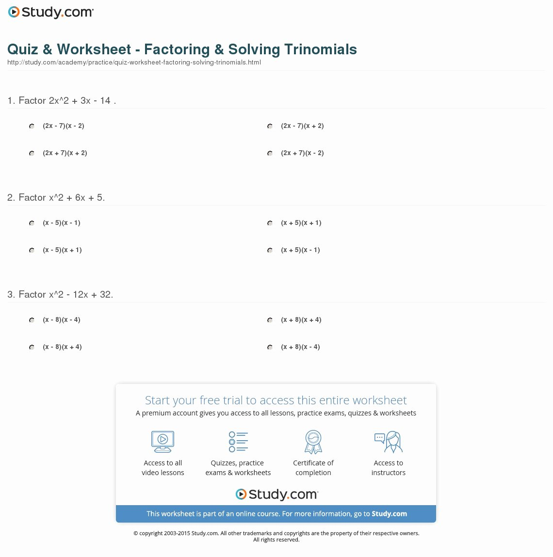 Solve by Factoring Worksheet Awesome Quiz & Worksheet Factoring & solving Trinomials