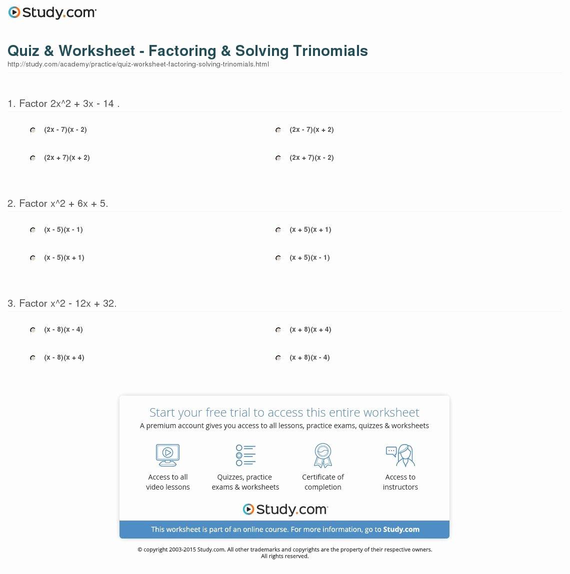Solve by Factoring Worksheet Awesome Quiz & Worksheet Factoring & solving Trinomials