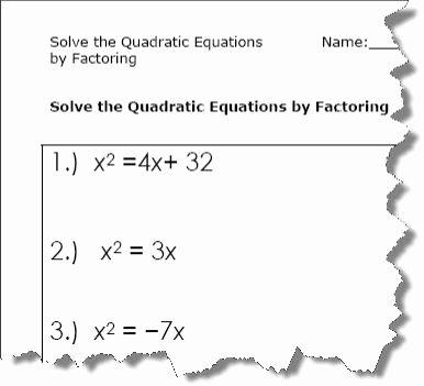 Solve by Factoring Worksheet Best Of Quadratic Equation Worksheets Printable Pdf Download
