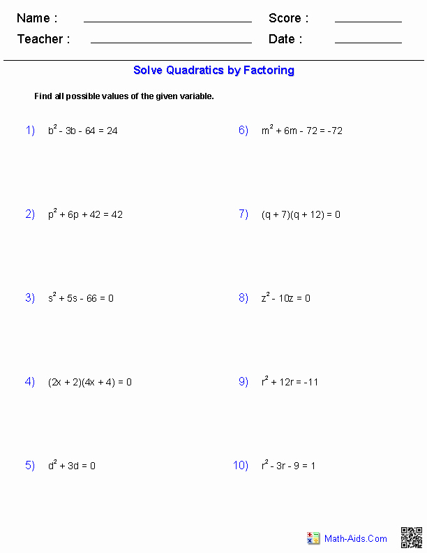 Solve by Factoring Worksheet New Algebra 2 Worksheets