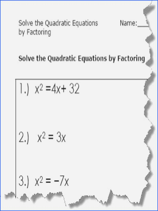 Solve by Factoring Worksheet Unique solving Quadratics by Factoring Worksheet