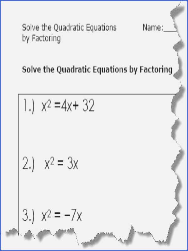 Solve by Factoring Worksheet Unique solving Quadratics by Factoring Worksheet
