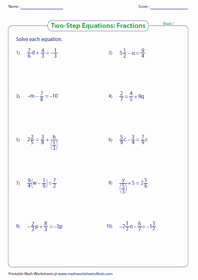 Solve Equations with Fractions Worksheet Best Of Two Step Equation Worksheets