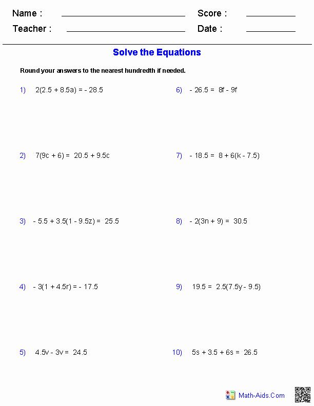 Solve Equations with Fractions Worksheet Inspirational Algebra 1 Worksheets