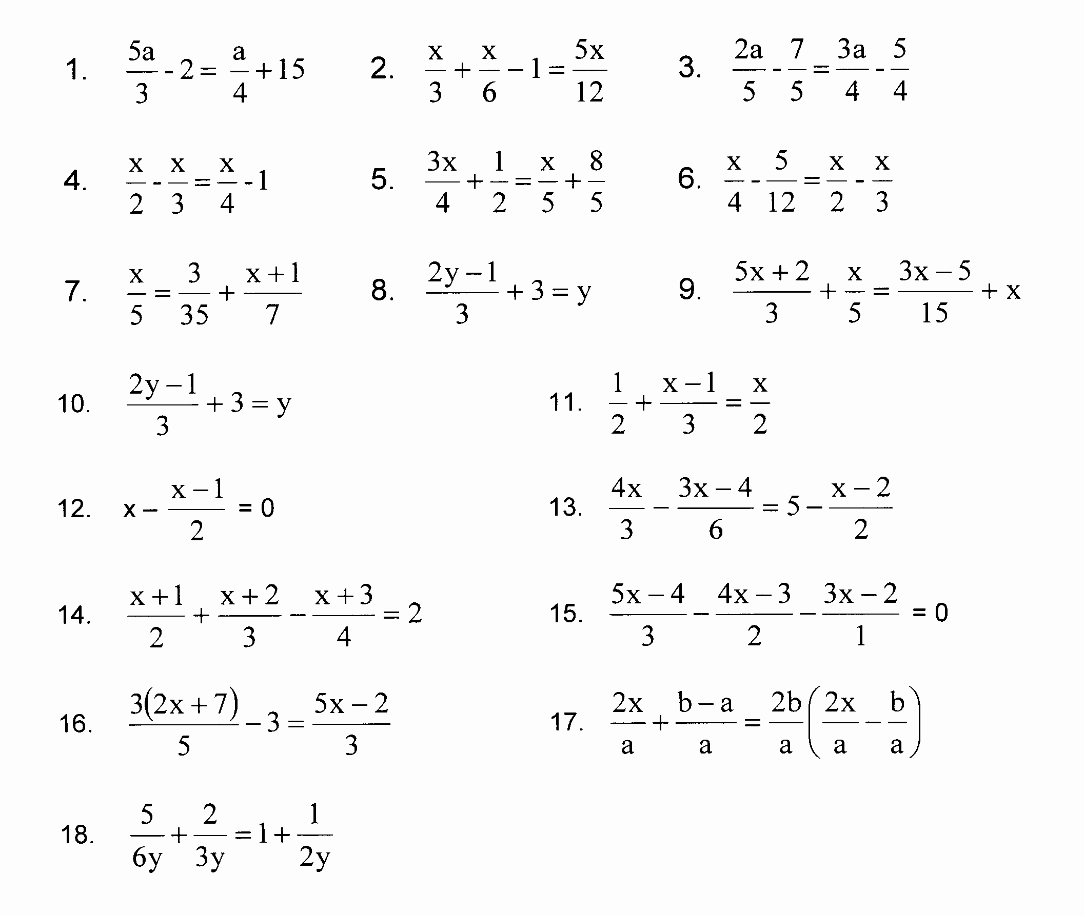 Solve Equations with Fractions Worksheet Inspirational solving Equations with Fractions Worksheet Tessshebaylo