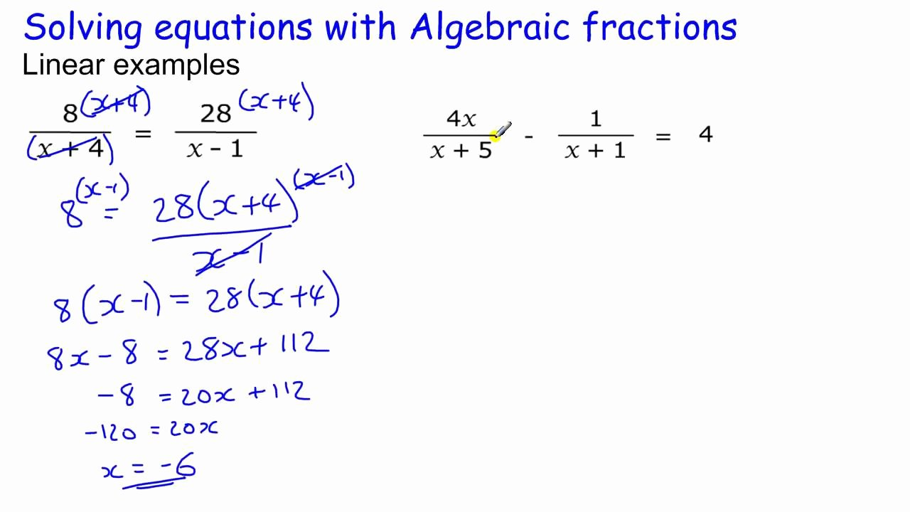 Solve Equations with Fractions Worksheet New Algebraic Fractions Part 1 Gcse Maths Revision Higher