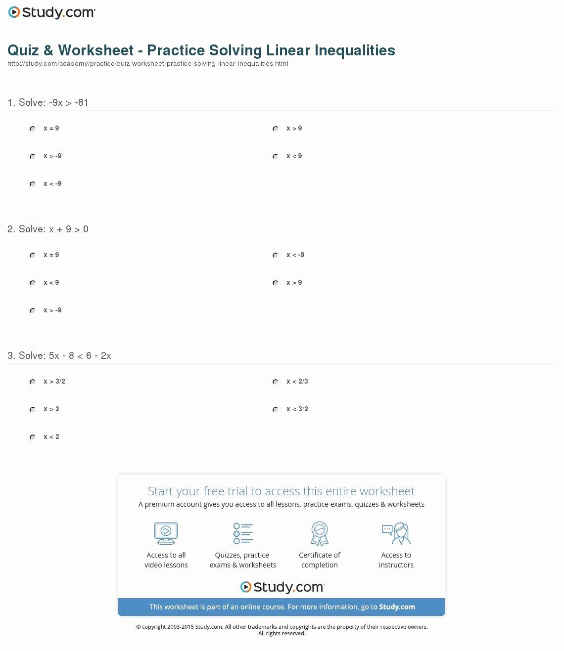 Solve Linear Inequalities Worksheet New Quiz & Worksheet Practice solving Linear Inequalities
