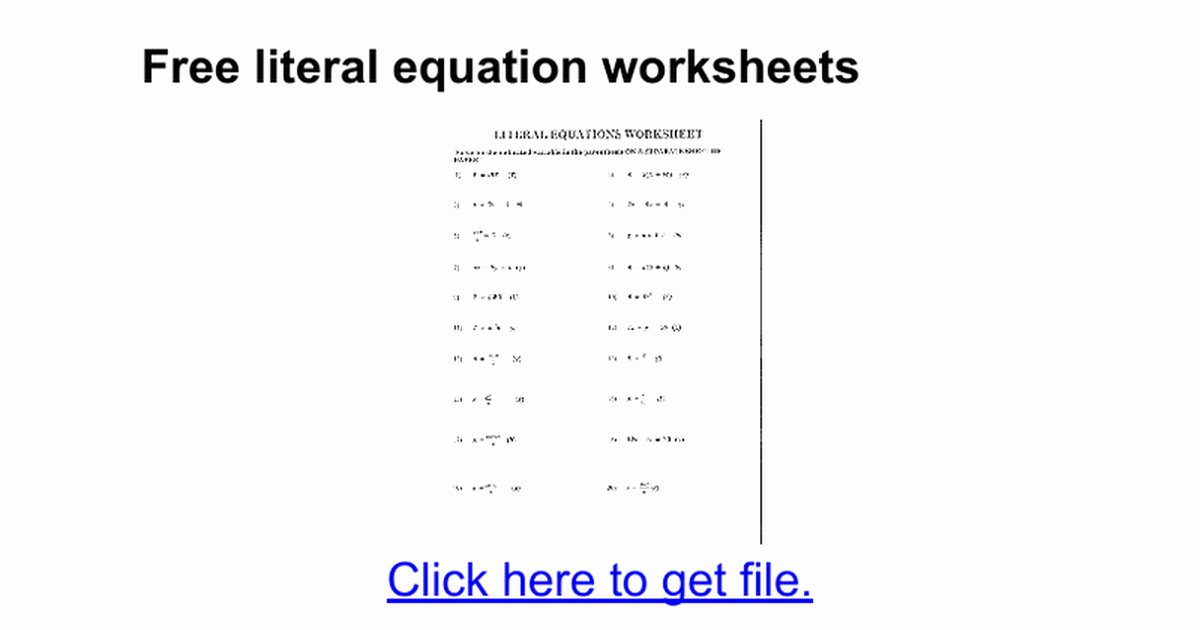 Solve Literal Equations Worksheet Beautiful solving Literal Equations Worksheet
