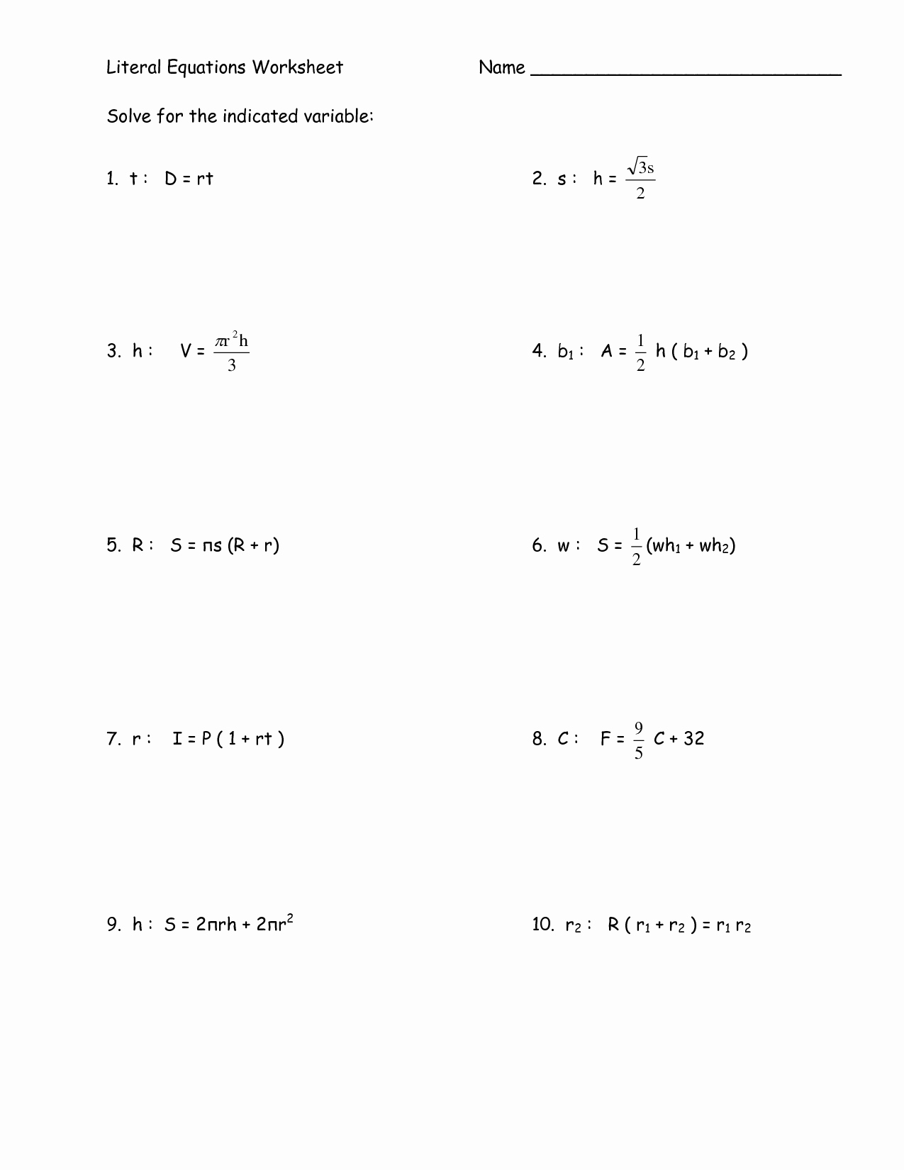 post algebra 1 step equations worksheets