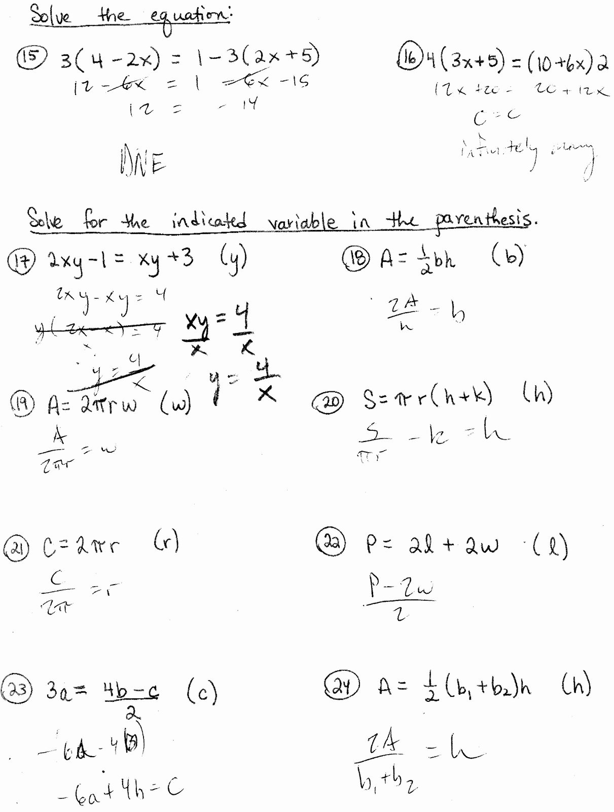 Solve Literal Equations Worksheet Fresh solving Literal Equations Students are Given Three Got It