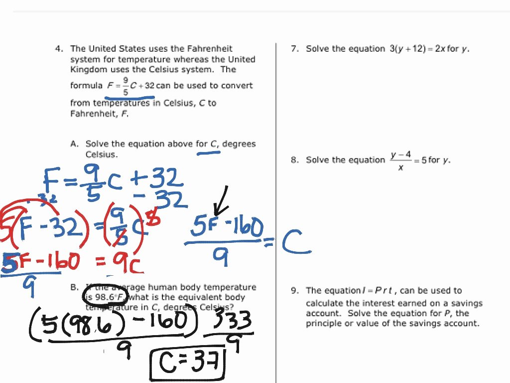 Solve Literal Equations Worksheet Inspirational solving Literal Equations Worksheet Students are Given