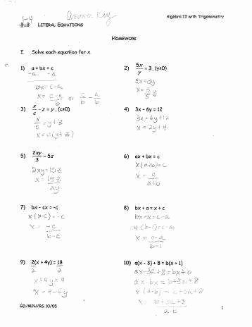 Solve Literal Equations Worksheet Luxury solving Literal Equations Worksheet