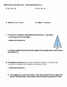 Solve Literal Equations Worksheet New solving Literal Equations Notes and Worksheet solving for
