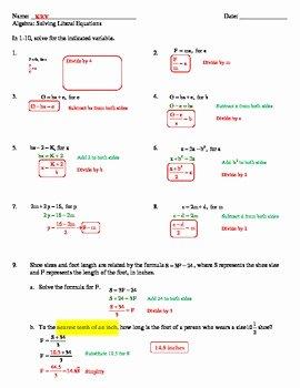Solve Literal Equations Worksheet Unique solving Literal Equations Worksheet by Mon Sense 4 the