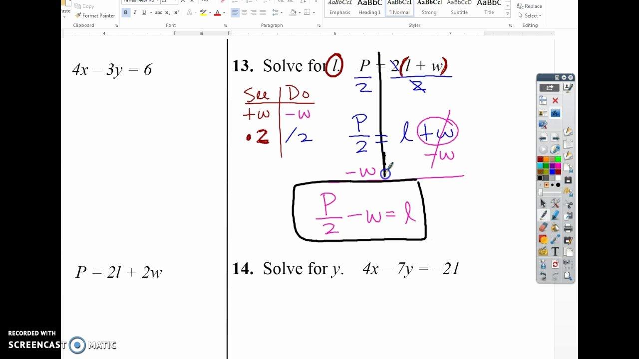 Solve Literal Equations Worksheet Unique solving Literal Equations Worksheet Students are Given