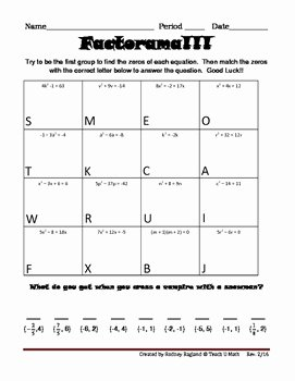Solve Quadratics by Factoring Worksheet Awesome Factorama solving Quadratic Equations and by Teach U