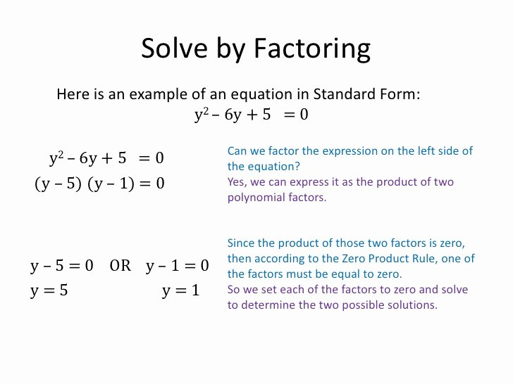 Solve Quadratics by Factoring Worksheet Elegant solving Quadratic Equations by Factoring