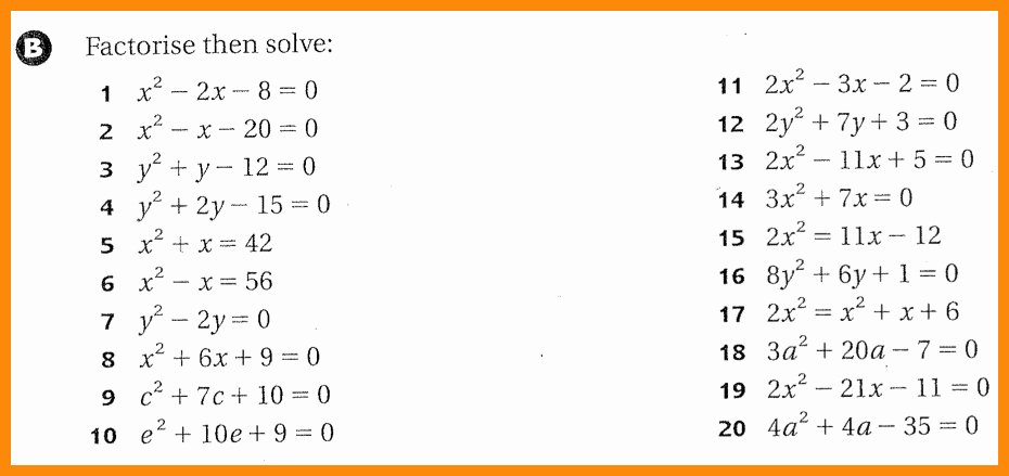 Solve Quadratics by Factoring Worksheet Inspirational Factoring Quadratic Equations Worksheet Tessshebaylo